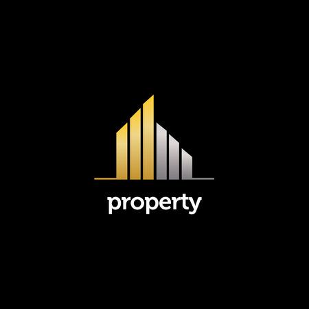 Elegant Gold Silver Property Realty Logo Sign Symbol Icon