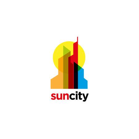 Colorful Overlap City Logo Sign Symbol Icon Illustration