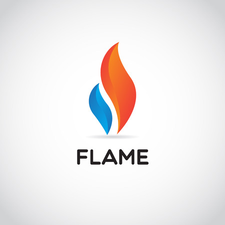 Clean Red Blue Fire Flame Logo Sign Symbol Icon