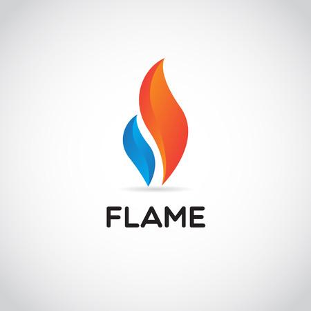 Czysty Czerwony Niebieski Ogień Płomień Logo Znak Symbol Ikona