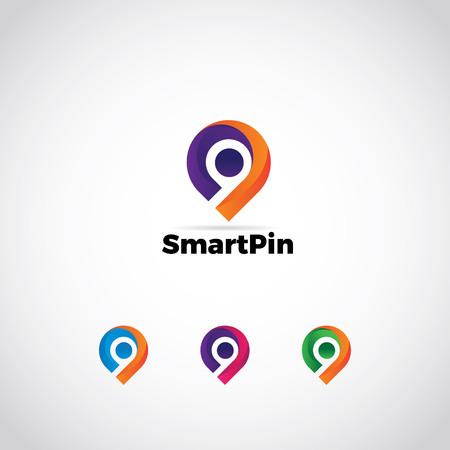 Icono de logotipo de símbolo de signo de pin colorido abstracto