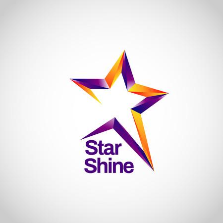 Arancione viola lucido con icona del logo del simbolo del segno della traccia della stella