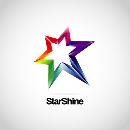 Błyszcząca, wibrująca tęczowa ikona symbolu logo gwiazdy Logo