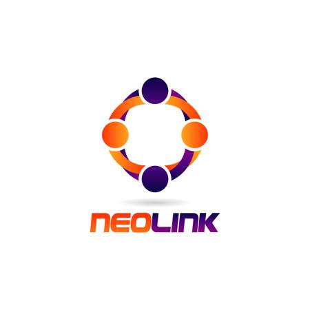 Bunte Menschen Link Logo Zeichen Symbol Symbol Logo