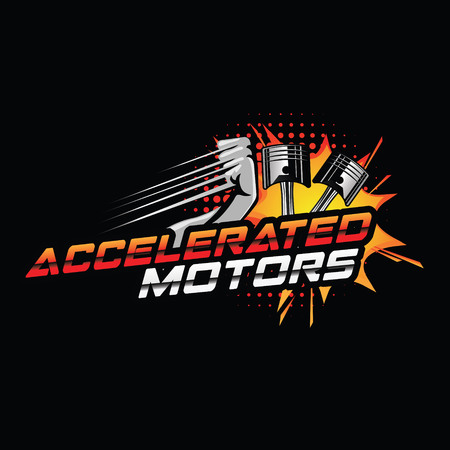 Accelerated Motor Logo With Piston And Forced Hand