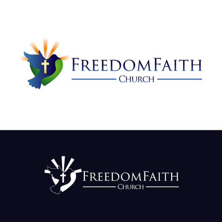 Church Faith With Flying Freedom Pigeon Logo Symbol Icon