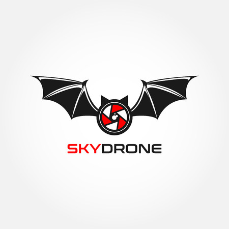 Bat Sky Drone Logo Design Symbol