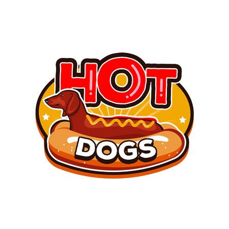 Hot Dogs Logo Design Badge