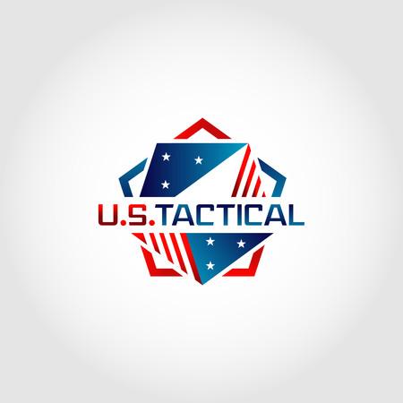 Symbole de conception de logo tactique du Pentagone américain des États-Unis Logo