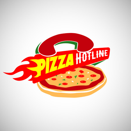 Pizza Hot Line Fast Delivery Logo Sign Symbol Icon
