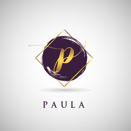 Simple Elegance Initial Letter P Gold Logo Type Sign Symbol Icon 向量圖像