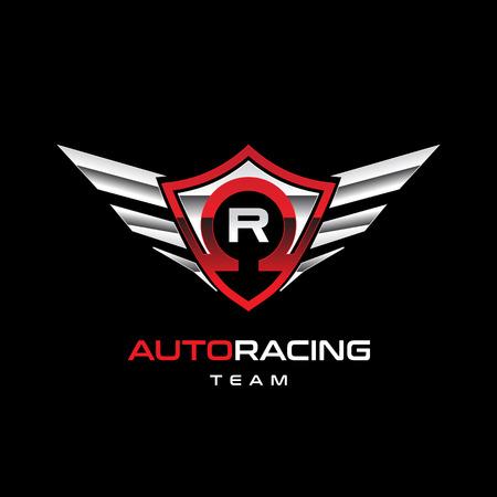 Auto Racing Winged Logo Sign Symbol Icon Vectores