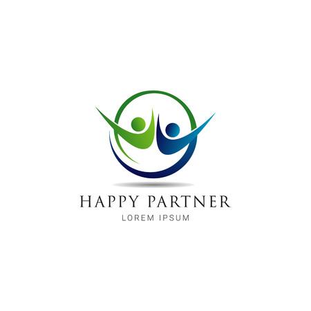Simple Happy Partner Logo Sign Symbol Icon Stock Vector - 124864150