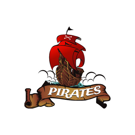 Pirate Ship Logo Symbol Banner Emblem