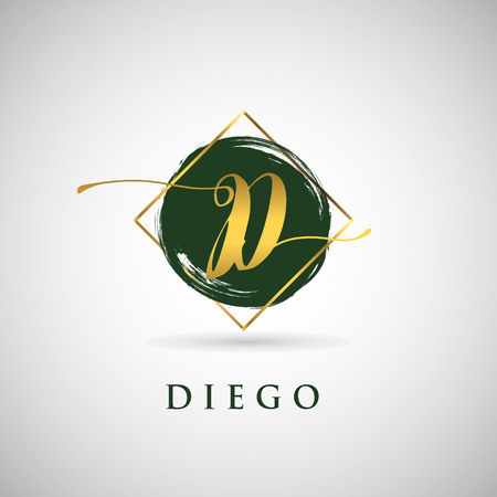Simple Elegance Initial Letter D Gold Logo Type Sign Symbol Icon