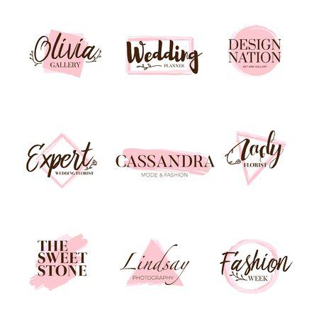 Pink Brush Logo Type Collection