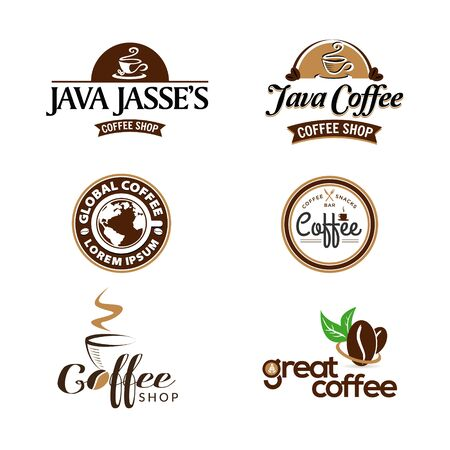 Coffee Shop Business Logo Set Collection Stock Illustratie