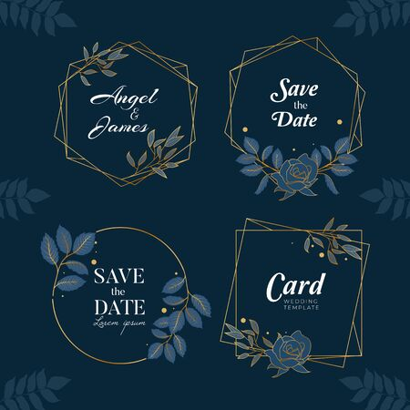 Blue Navy Hand Drawn Wreath Background Collection