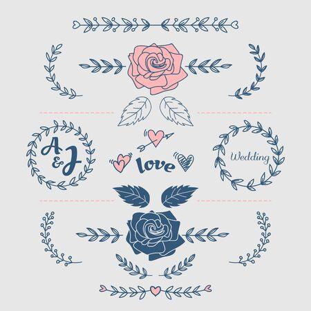 Hand Drawn Flower Doodle Wedding Heart Template