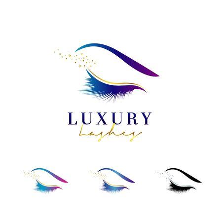 Conjunto de diseño de logotipo de pestañas de lujo