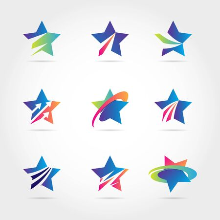 Colorful Blue Star Logo Symbol Icon Collection