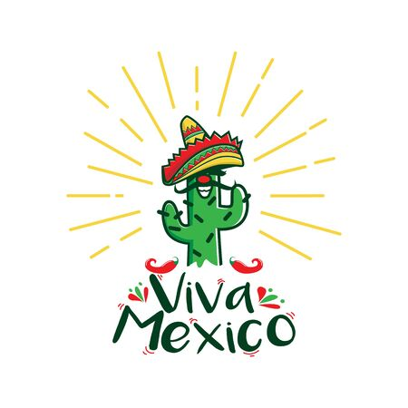 Viva Mexico Cactus Character With Traditional Mexico Hat