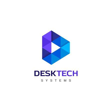 Blue Geometry Letter D Logo Design 免版税图像 - 129152834