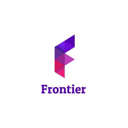 Purple Geometry Letter F Logo Design
