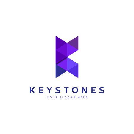 Purple Geometry Letter K Logo Design