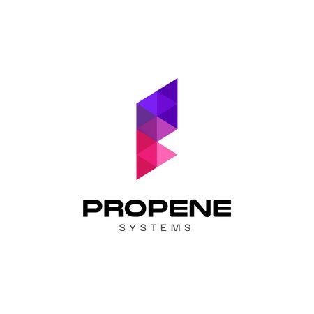 Purple Geometry Letter P Logo Design 向量圖像
