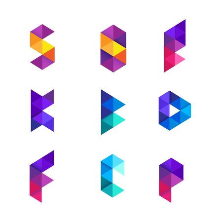 Colorful Geometry Alphabet Letter Logo Design 向量圖像