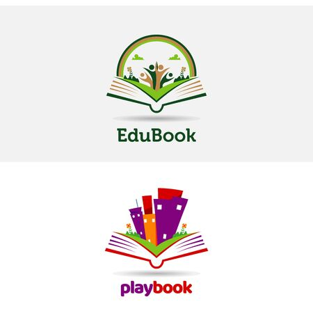 Playful Book Open Logo Template 免版税图像 - 129152841