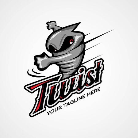 Twister Character Design logo Illustration