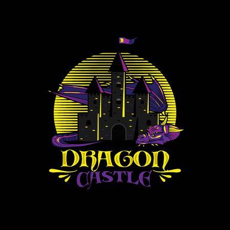 Dragon Castle Logo Illustration Design