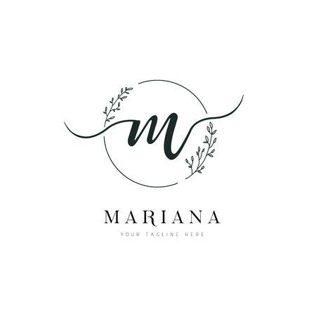 Circle Shape Hand Drawn Floral Frame Letter M Logo