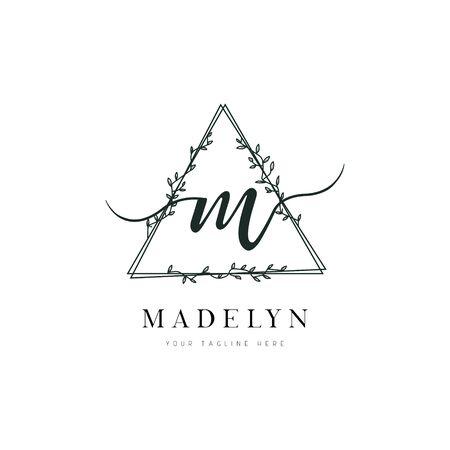 Triangle Shape Hand Drawn Floral Frame Letter M Logo
