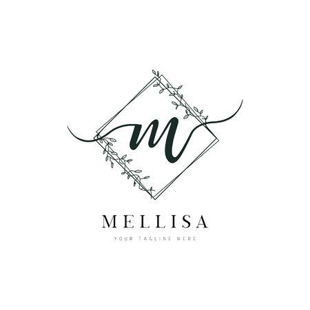 Diamond Shape Hand Drawn Floral Frame Letter M Logo 向量圖像