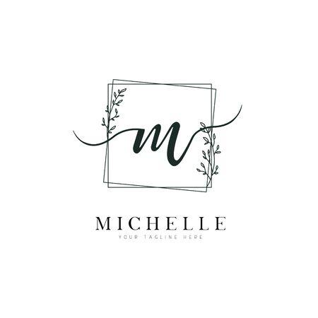 Square Shape Hand Drawn Floral Frame Letter M Logo