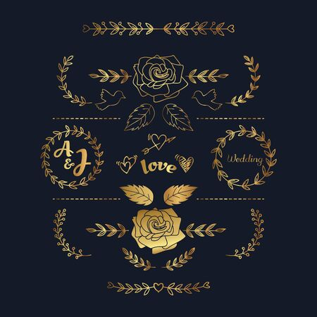 Hand drawn Floral Gold Graphic Element