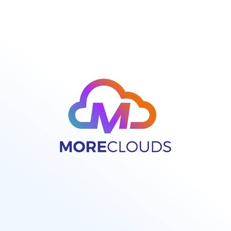 Abstract Letter M Clouds Technology Logo Sign Symbol Icon