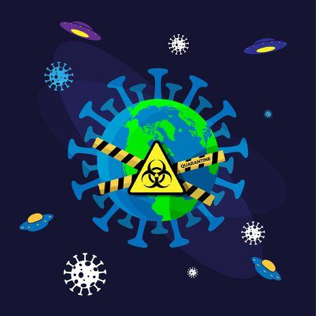Earth Quarantine Corona Virus Disease Illustration 向量圖像