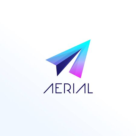 Abstract Letter Shape A Paper Plane Logo Template