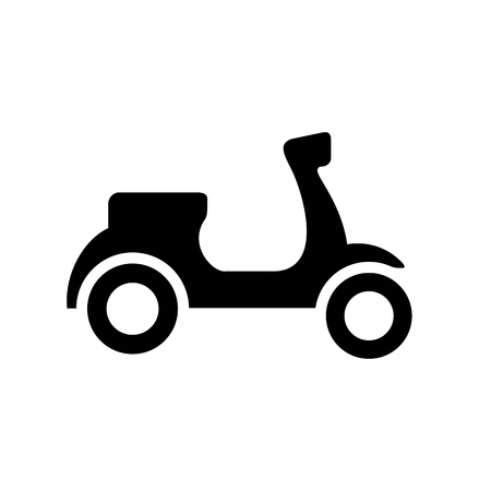 Black and White scooter silhouette, isolated on white background. Vector Illustration.
