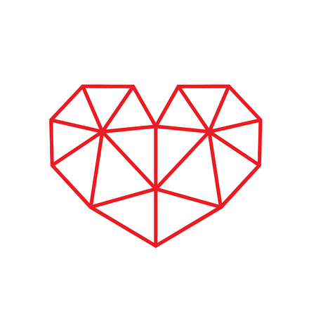 Red Triangular Style Heart Symbol. Isolated on white background.