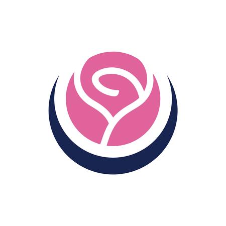 Vector rose flower logo element. Isolated on white background. Vector Illustration.
