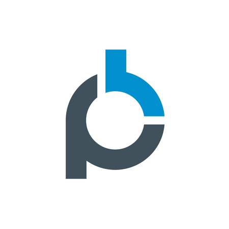 Logo of stylized Letter P and B. Clean and simple logo template, suitable for a creative company, studio, team, etc. Made from 100% vector shapes you can resize without losing quality. Ilustração