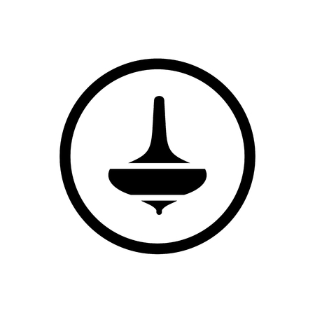Spin Top Gasing, Asian Traditional Toys Icon, Combined With Bold Outline