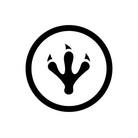 Animal or Dinosaur Footprint, Claw Symbol and Circle Outline, Icon Concept, Vector Logo Design