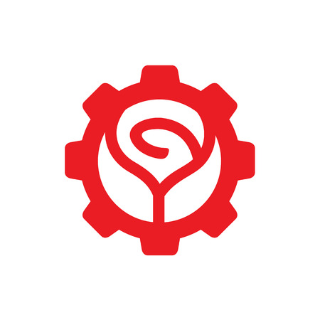 Red Rose Flower Logo Icon Design, Combined With Gear, Vector Illustration