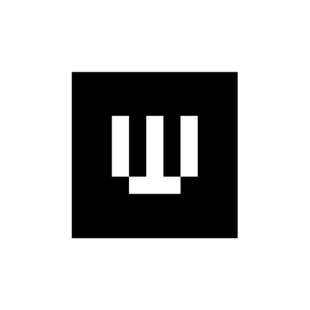 Letter W Vector Logo, Combined With Square Shape, Black and White Alphabet W Icon Design